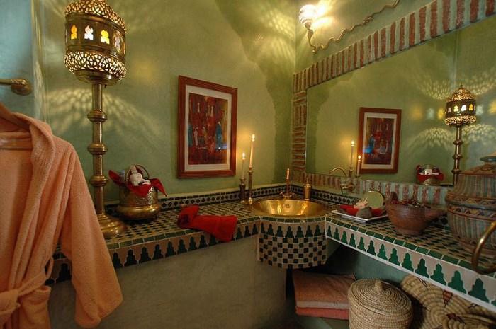 green moroccan bathroom