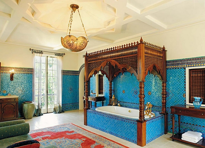 Moroccan Inspired Bathroom with wood hand carved bath decor by Chris Barett  Design. 10 bathroom decorating ideas for Moroccan Style Lovers