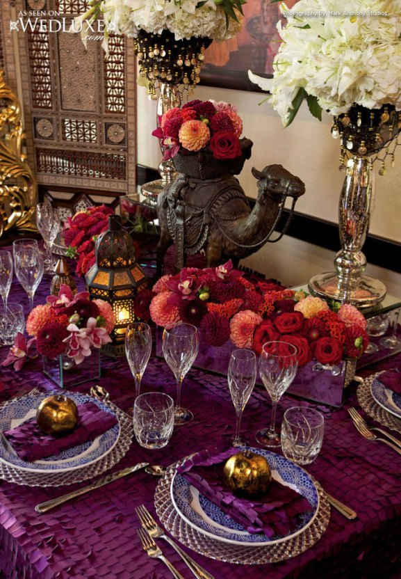 Moroccan Themed reception table decoration, Image by weddingsromantique.com