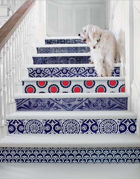 Serena and Lily Patterned Stair Design, Image source: Serena & Lily