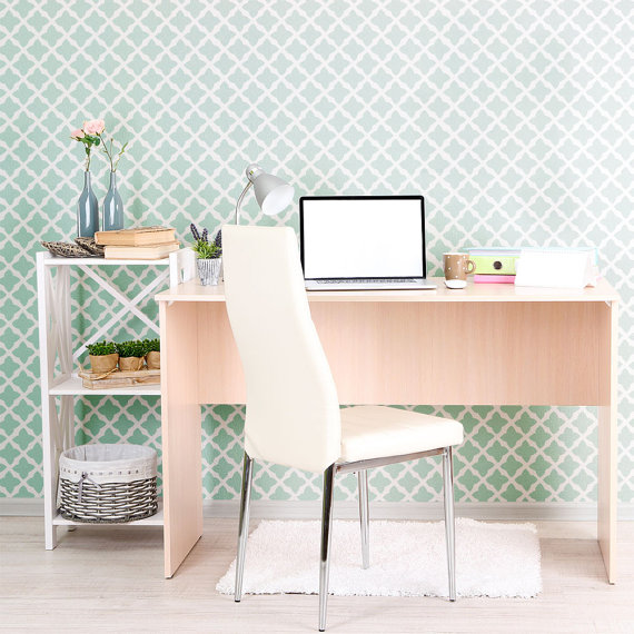 Moroccan Wall Stencil in a modern home office, Shop Pattern Here