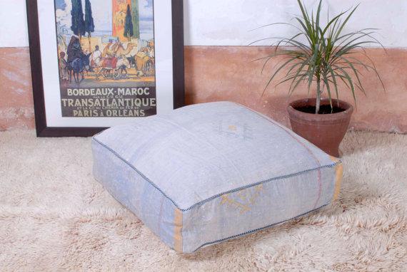 Moroccan Pouf Sabra, made from a vintage Berber rug, BerberWares