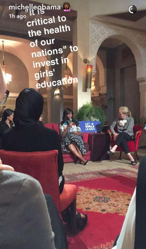 Michelle Obama in Morocco-with Meryl Streep, michelleobama/SnapChat