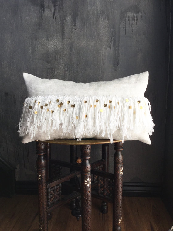 Moroccan Inspired Pillow with White Gold Fringe Tassel, Shop this Item HERE
