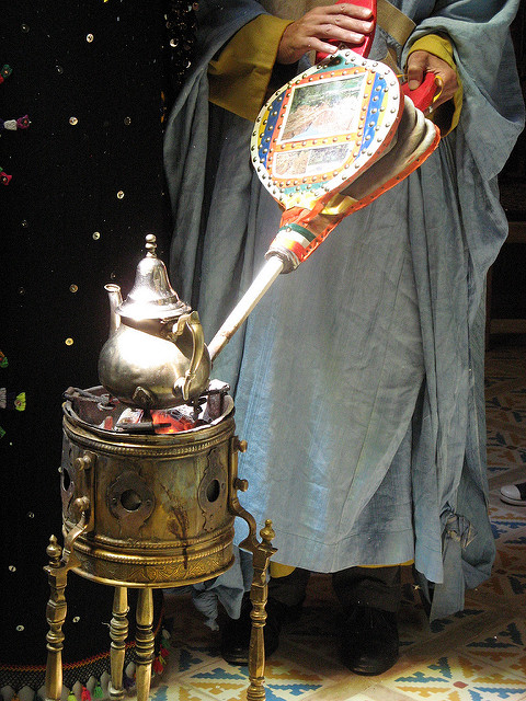Stand, teapot & bellows used in preparing mint tea, Rissani, Morocco, via Flickr