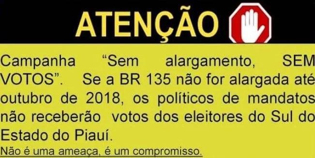 campanha, sem alargamento sem votos br-135 rodovia da morte, piauí