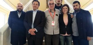 De izquierda a derecha Lucas Figueroa, Óscar Graefenhain, Jorge Sanz, Pepe Jordana, Virginia Llers y David Rodríguez