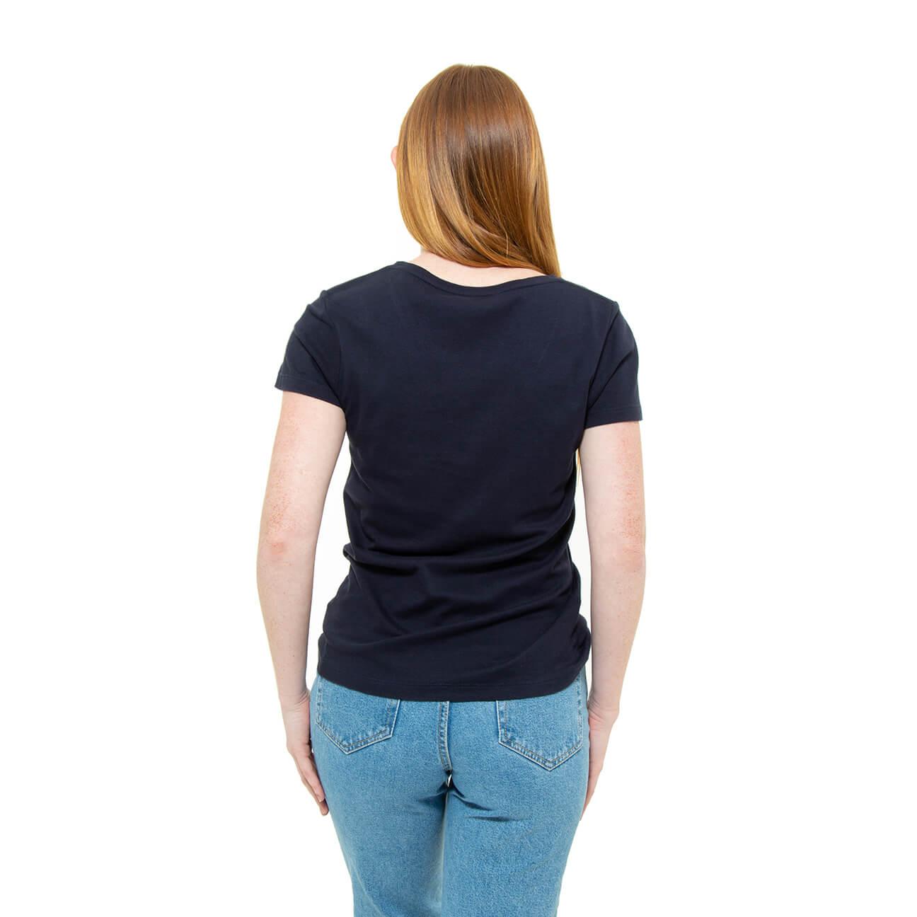 Franela azul cuello en V para damas espalda