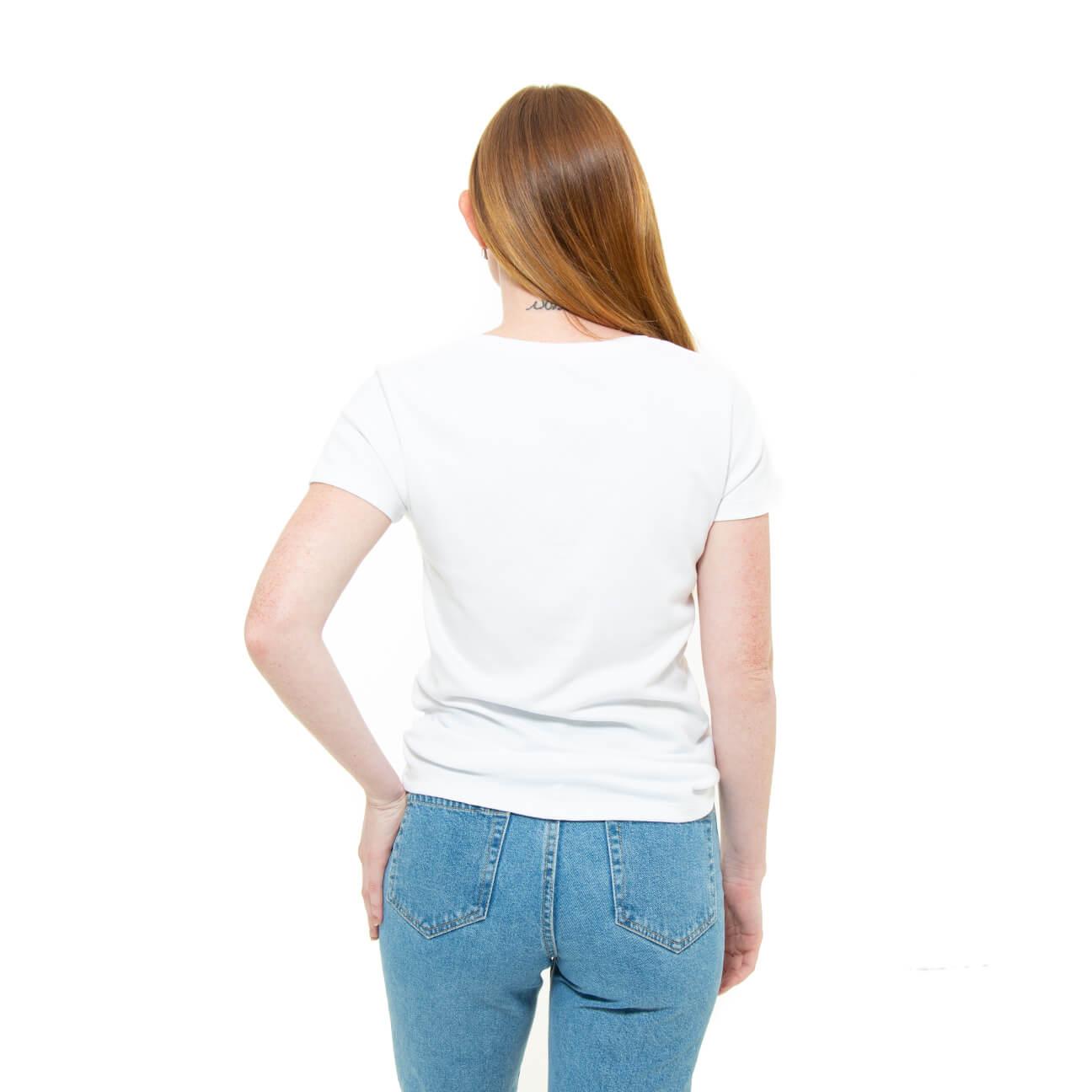 Franela blanca cuello en V para damas espalda