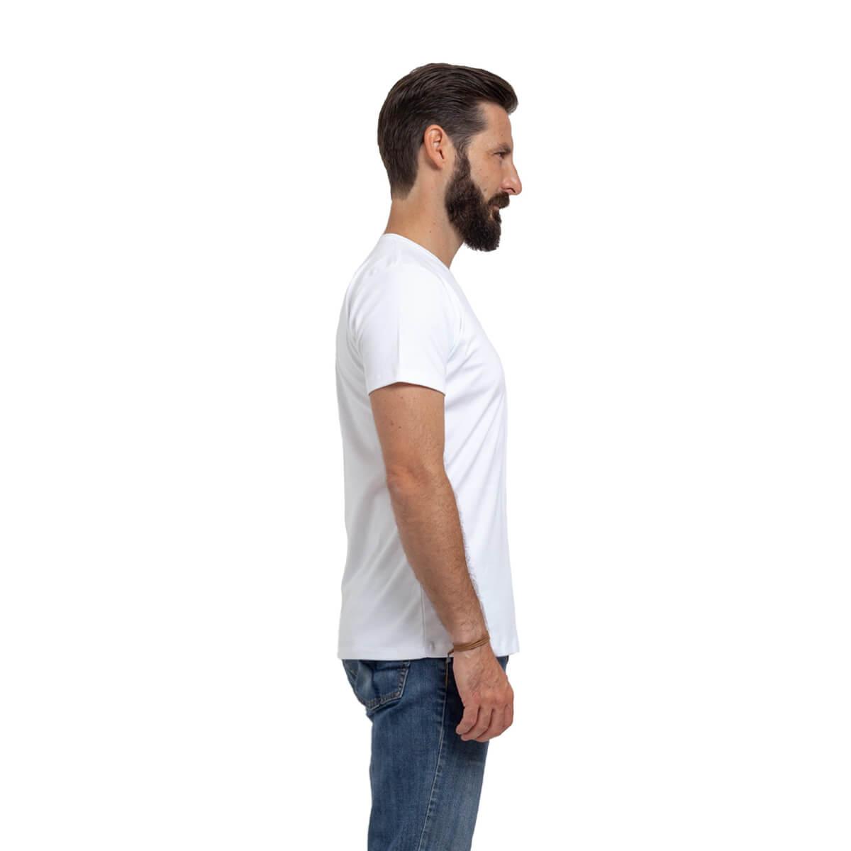Franela esencial cuello redondo blanco hombre lado