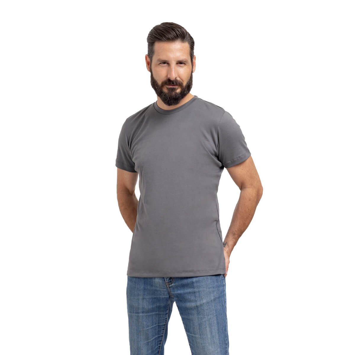 Franela esencial cuello redondo gris hombre frente