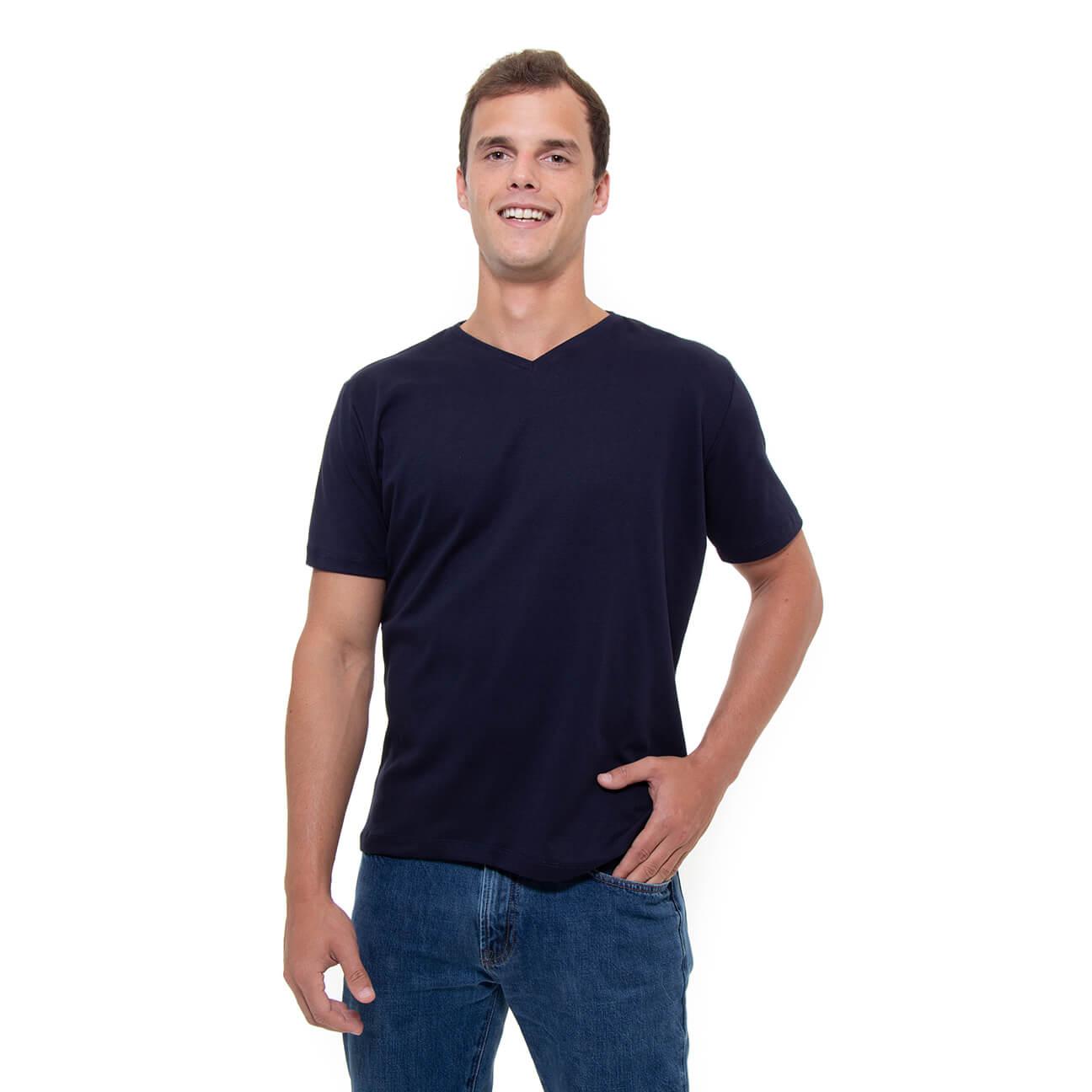Franela azul oscura esencial para hombre cuello en V Verticales frente