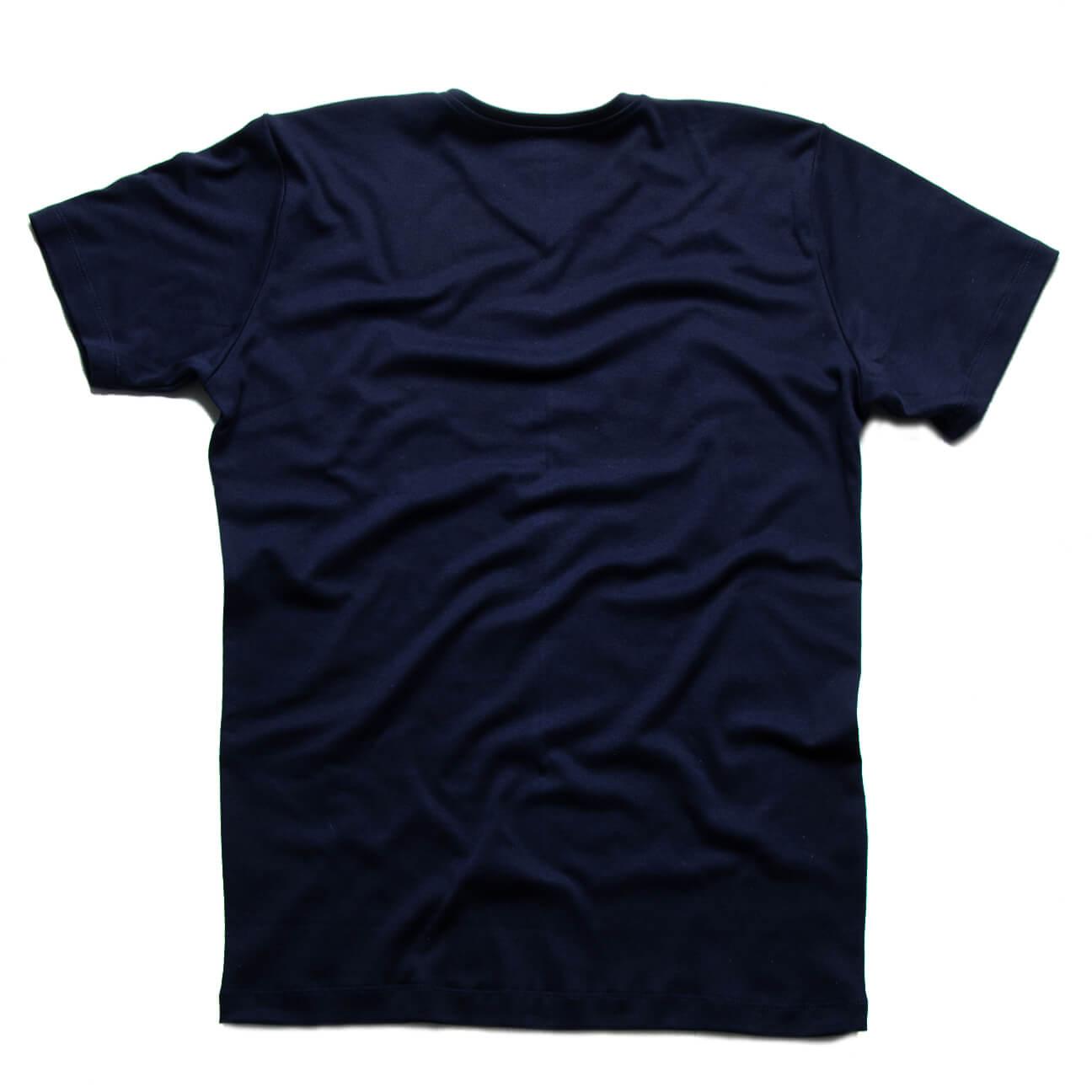 Verticales - Franela azul oscuro esencial cuello en V espalda
