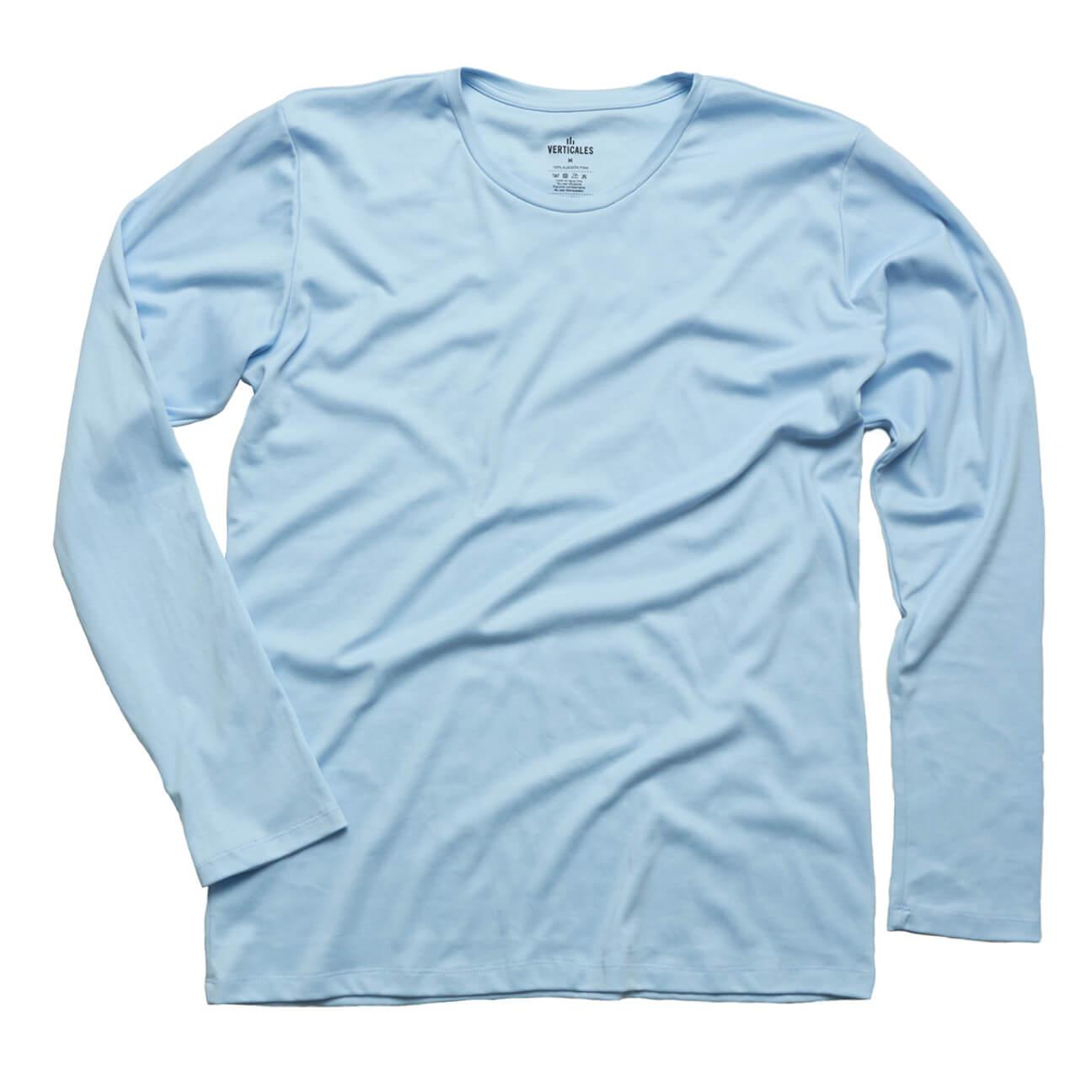 Franela basica Verticales caballero manga larga azul claro espalda