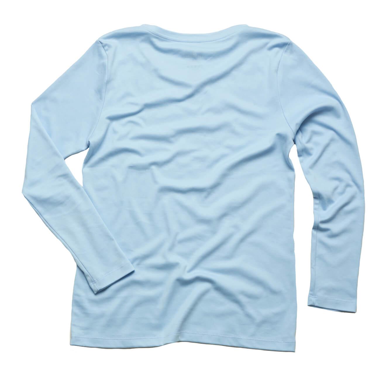 Franela basica Verticales dama manga larga azul claro espalda