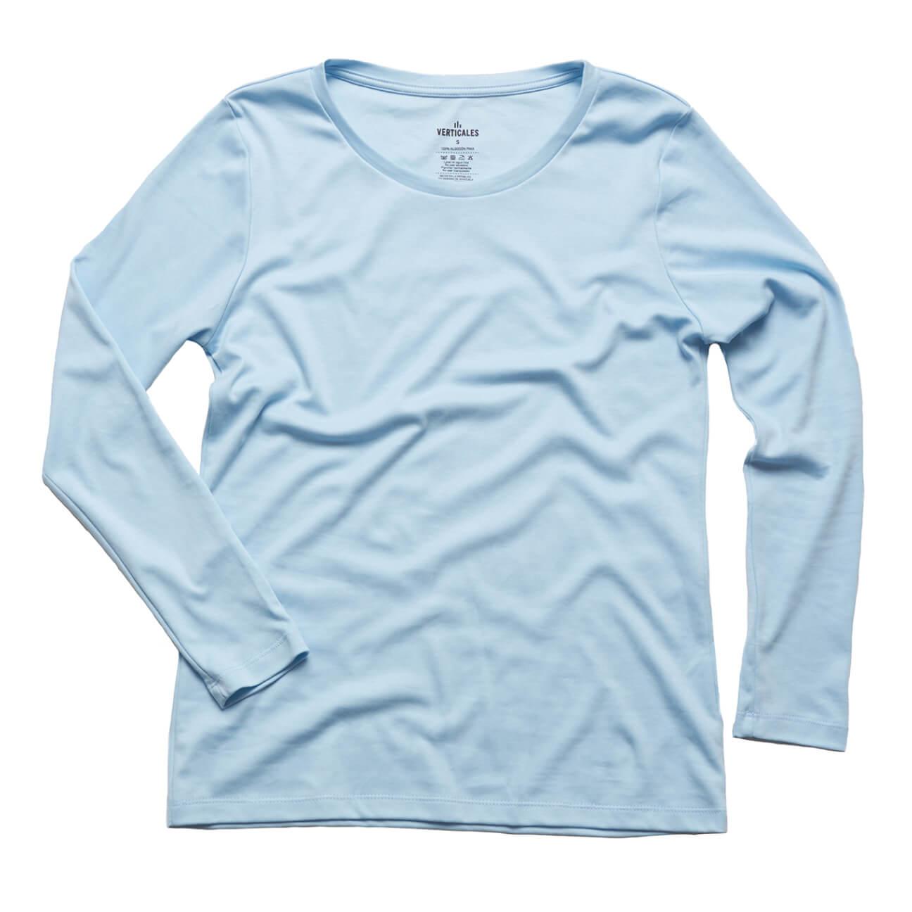 Franela basica Verticales dama manga larga azul claro