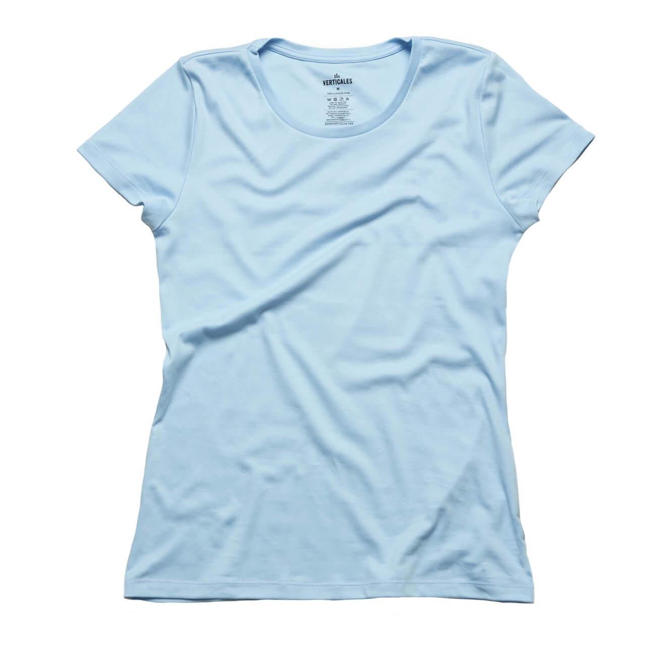 Franela basica Verticales damas cuello redondo azul claro