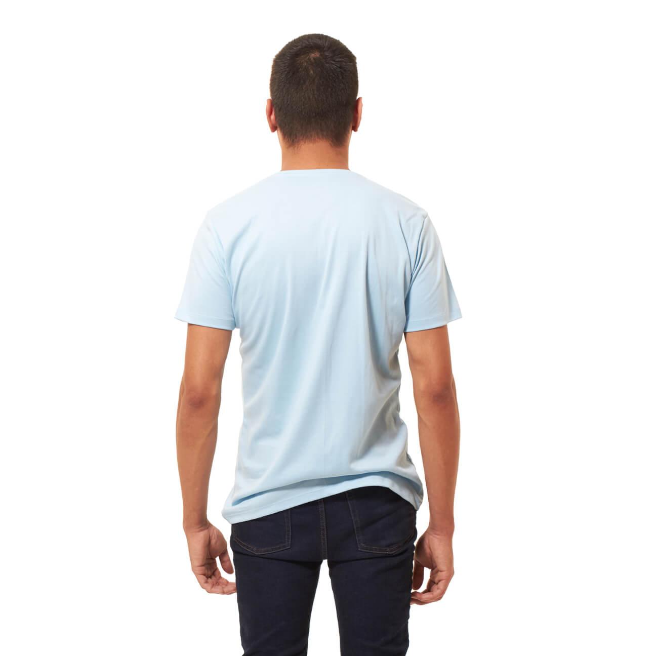 Franela basica caballero cuello redondo azul claro espalda