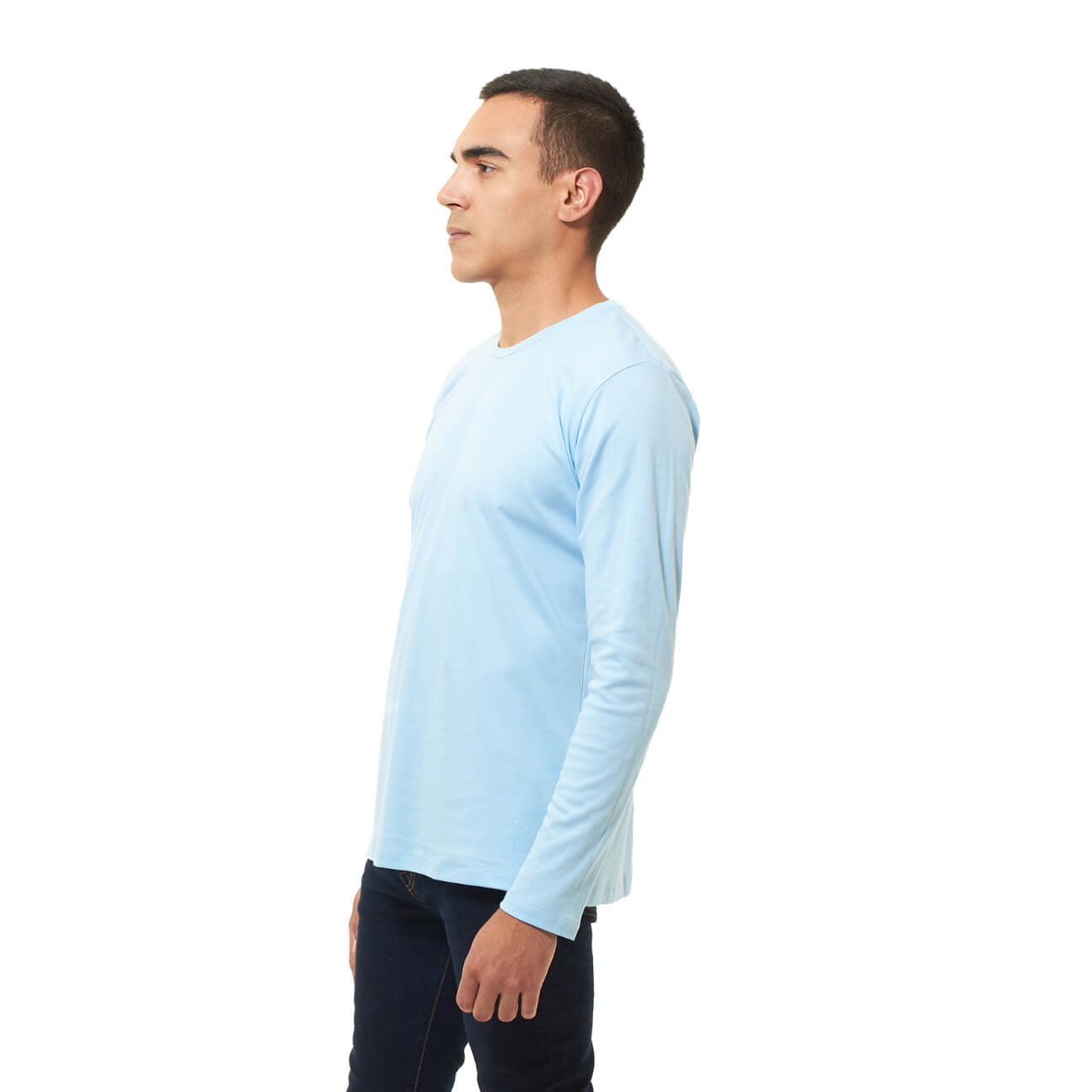 Franela basica caballero manga larga azul claro lado