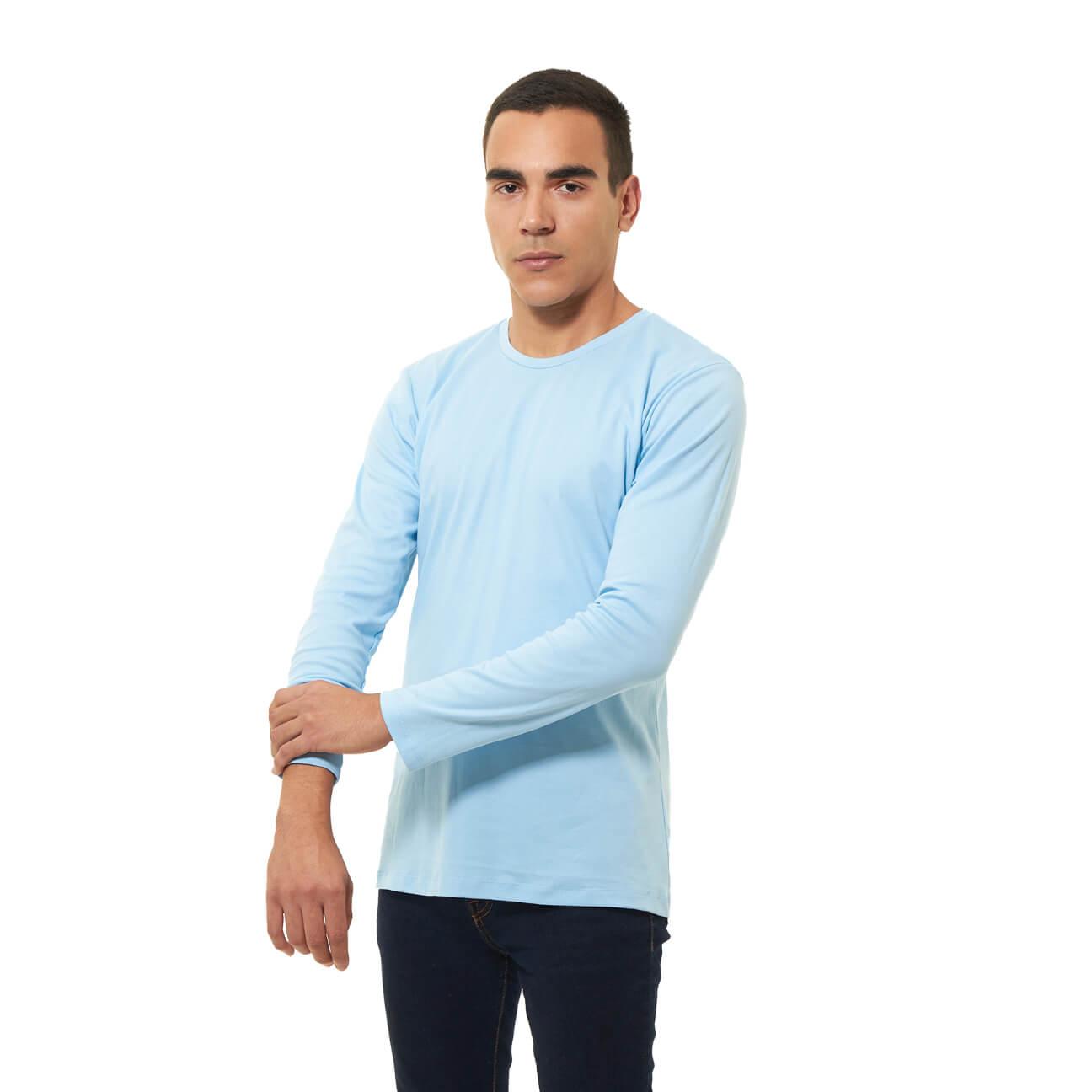 Franela basica caballero manga larga azul claro