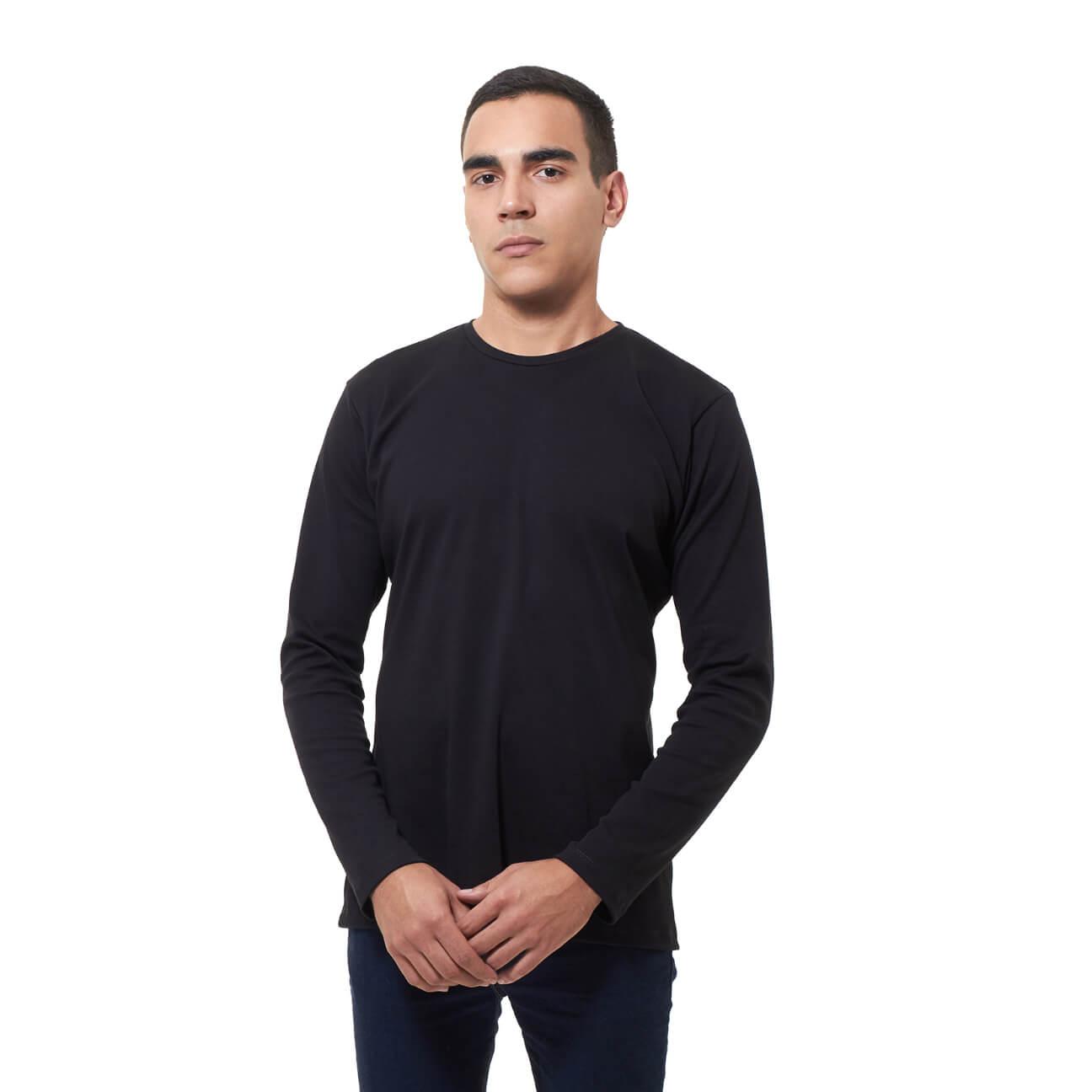 Franela basica caballero manga larga negra