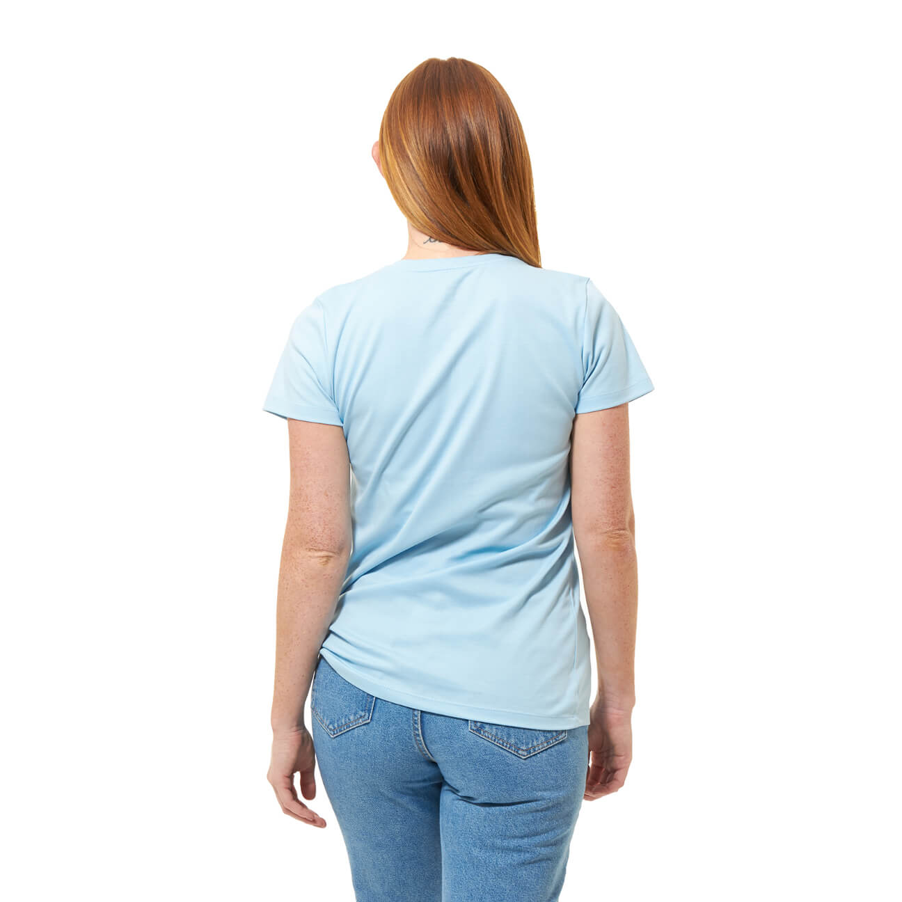 Franela basica dama cuello redondo azul claro espalda