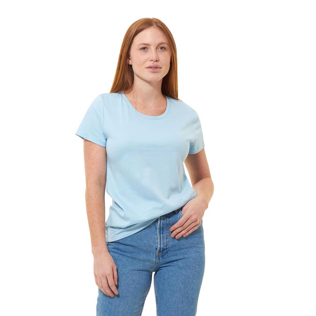 Franela basica dama cuello redondo azul claro