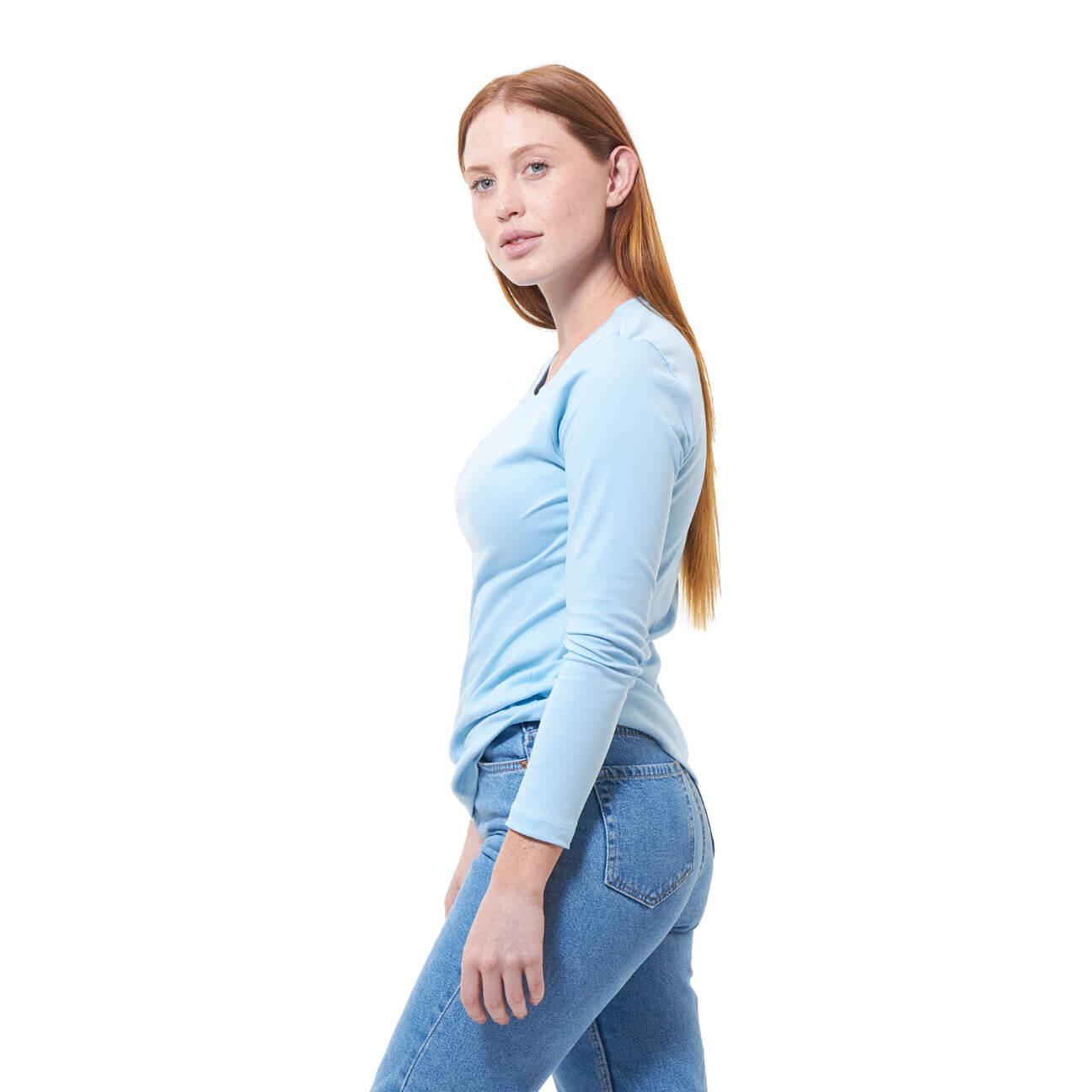 Franela basica dama manga larga azul claro lado