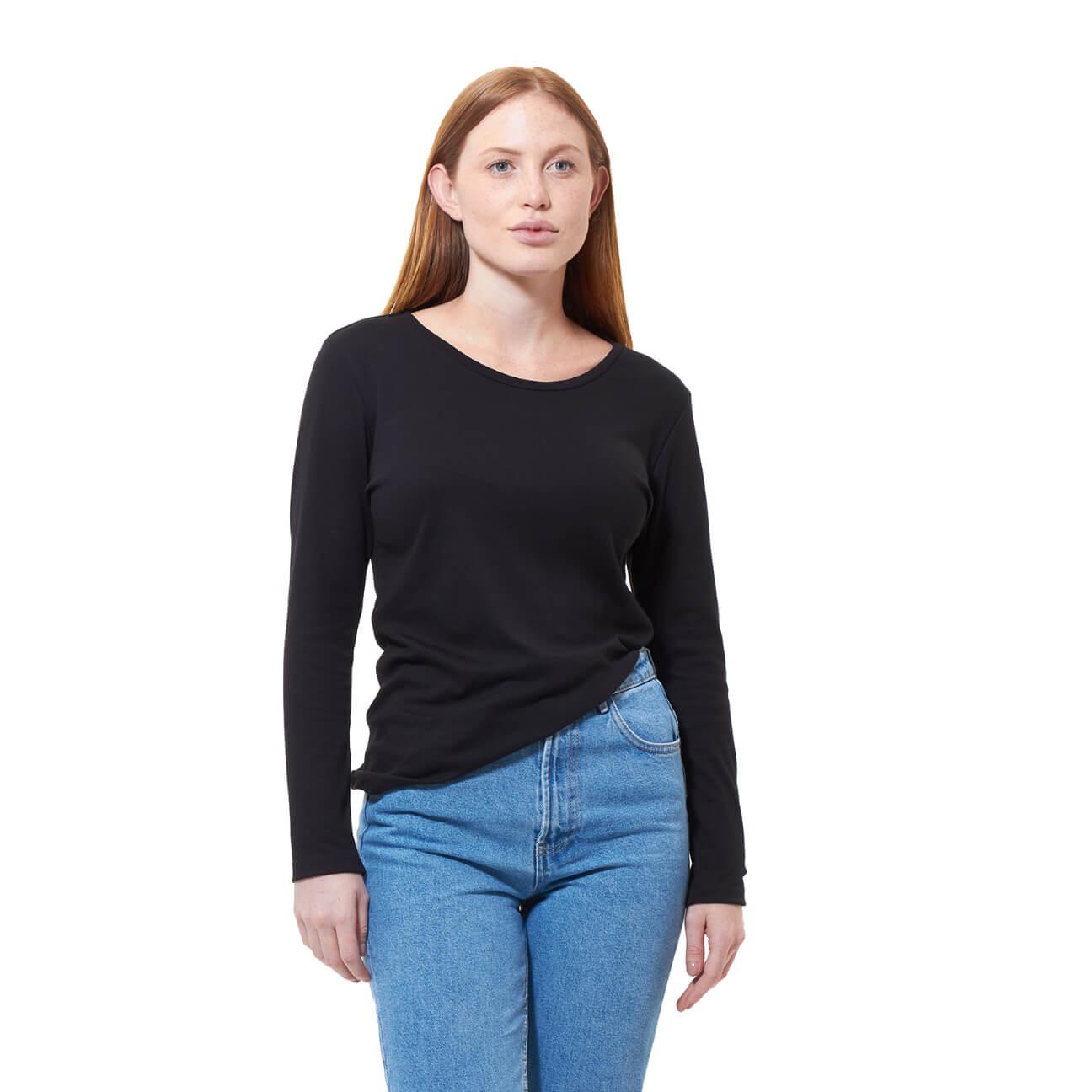 Franela basica dama manga larga negra