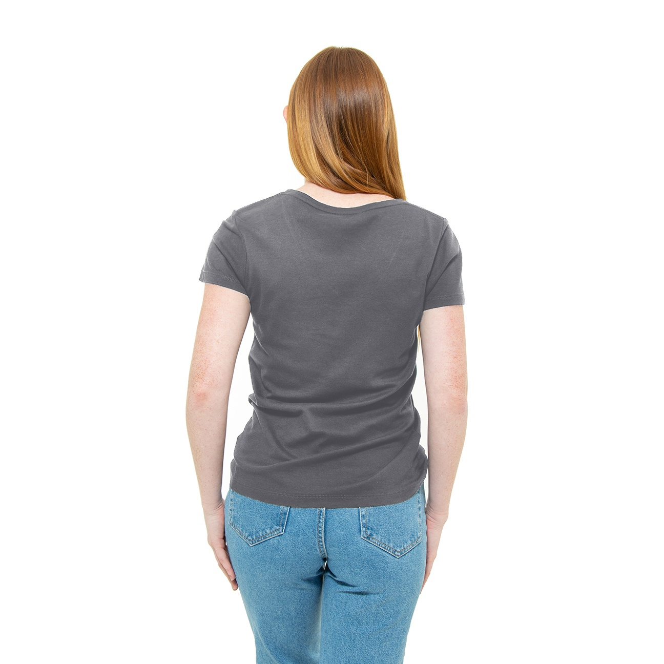 Franela basica gris cuello en V damas espaldas
