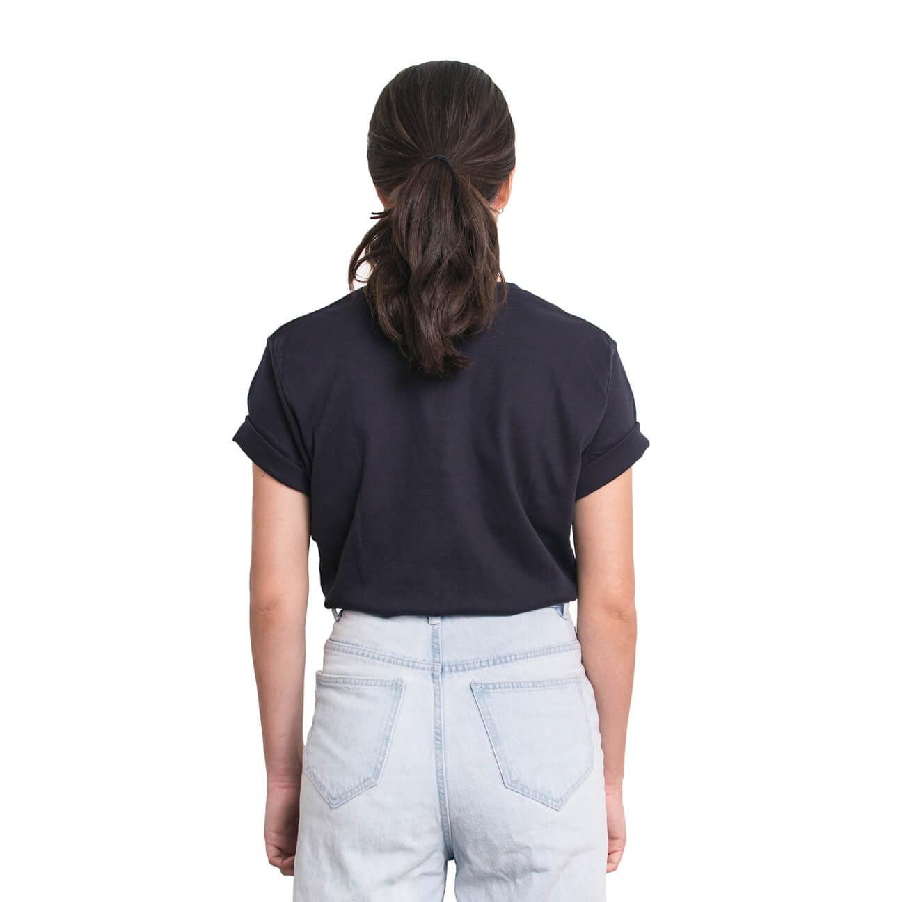 Boyfriend shirt básica azul oscura verticales espalda