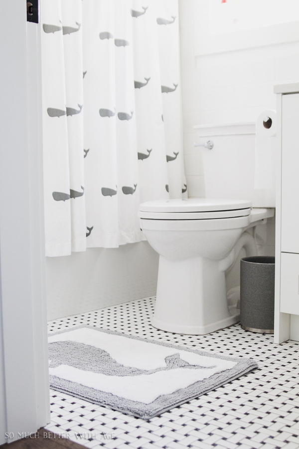 simple clean and white kids bathroom