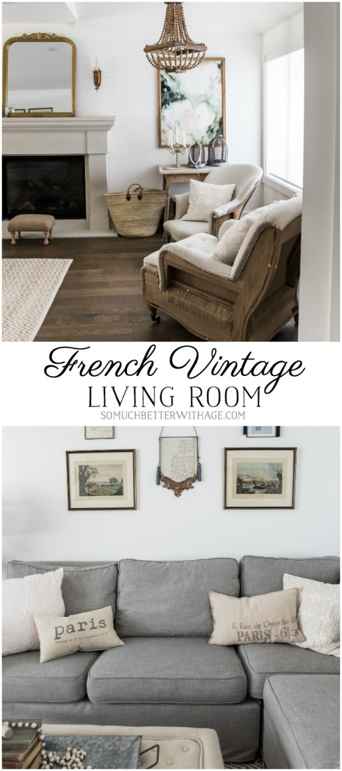 French Vintage Living Room & Foyer - Before & After - So Much Better With Age