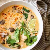 tom kha gai soup (thai coconut chicken soup)