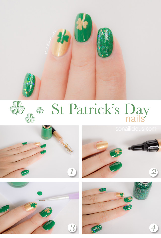 How To St Patrick Nails Easy Nail Art Tutorial