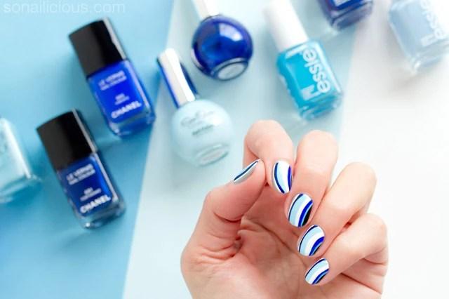 Blue Nails With Chanel Vibrato Nail Art