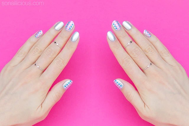 Simple Silver Nail Art For Short Nails Day 1