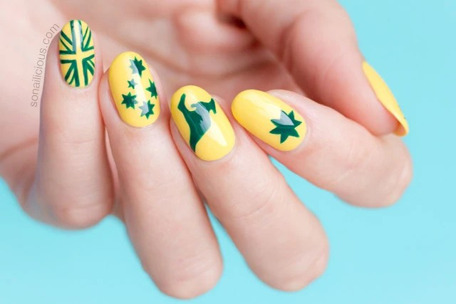 Be Closer To Nature With This Bright Green Color Ensemble Arranged In A Grant Themed Nail