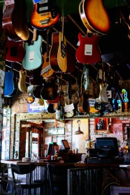 Autographed guitars hanging inside Rum Boogie Cafe