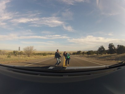 The GoPro version of our stupidity in the middle the US-285 Hwy. We were trying to jump but the camera clicked before
