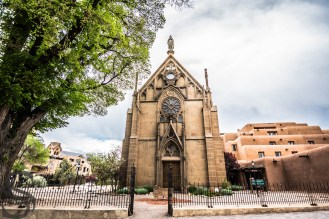 Loretto Chapel at the end of Old Santa Fe Trail in Santa Fe Downtown, NM