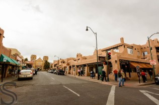Streets of Santa Fe downtown just before the downpour
