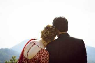 Shoulder to shoulder - relaxing and sinking in the feeling of finally getting married.