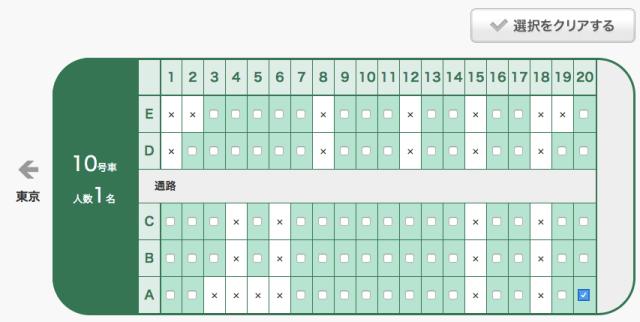 えきねっと(JR東日本)___JR券申込_>_1列車申込_>_座席位置選択(シートマップ)