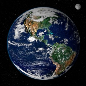 Earth from space. Photo from Wikimedia Commons, courtesy of NASA.