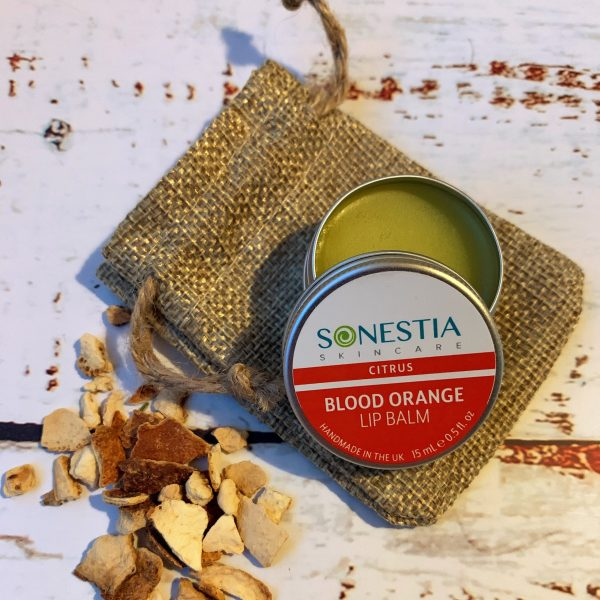 Blood orange lip balm in hessian pouch