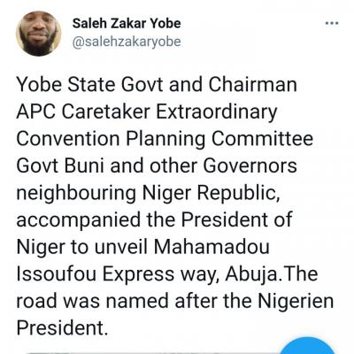 President Buhari Names Expressway In Abuja After The President Of Niger