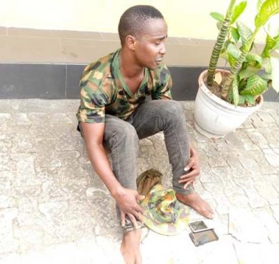 Photo Of Fake Soldier Who Was Nabbed In Cross River State
