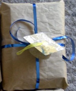Songdove Books - Grad cap name tag on grad gift
