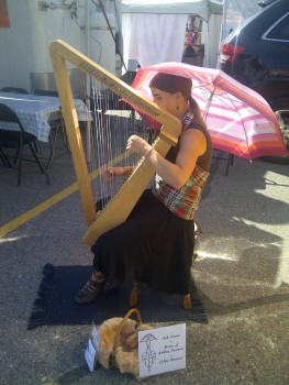 Songdove Books: Daughter playing harp